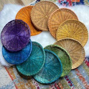 Vintage 10 Rainbow Wicker Plate Holders Baskets